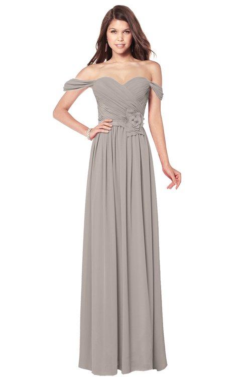 ColsBM Kaolin Mushroom Bridesmaid Dresses A-line Floor Length Zip up Short Sleeve Appliques Gorgeous