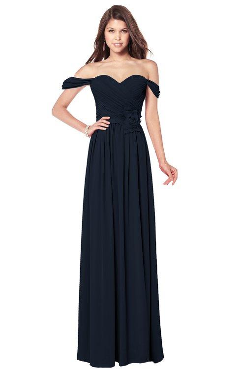 ColsBM Kaolin Navy Blue Bridesmaid Dresses A-line Floor Length Zip up Short Sleeve Appliques Gorgeous