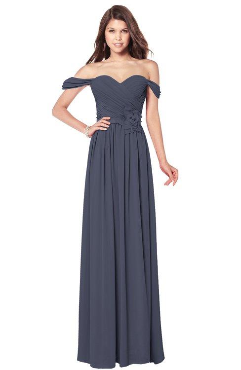 ColsBM Kaolin Nightshadow Blue Bridesmaid Dresses A-line Floor Length Zip up Short Sleeve Appliques Gorgeous