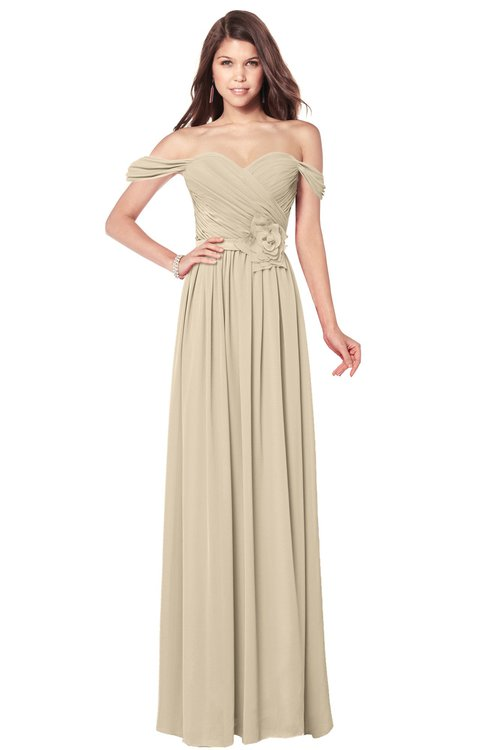 ColsBM Kaolin Novelle Peach Bridesmaid Dresses A-line Floor Length Zip up Short Sleeve Appliques Gorgeous