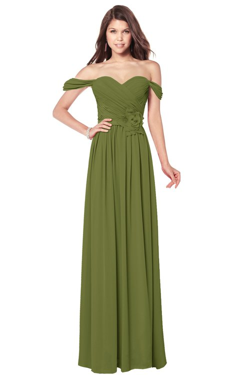 ColsBM Kaolin Olive Green Bridesmaid Dresses A-line Floor Length Zip up Short Sleeve Appliques Gorgeous