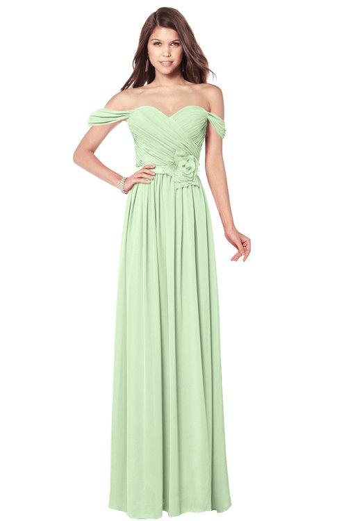 ColsBM Kaolin Pale Green Bridesmaid Dresses A-line Floor Length Zip up Short Sleeve Appliques Gorgeous