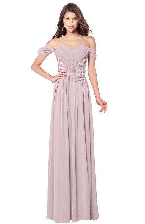 ColsBM Kaolin Pale Lilac Bridesmaid Dresses A-line Floor Length Zip up Short Sleeve Appliques Gorgeous