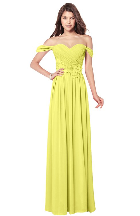 ColsBM Kaolin Pale Yellow Bridesmaid Dresses A-line Floor Length Zip up Short Sleeve Appliques Gorgeous