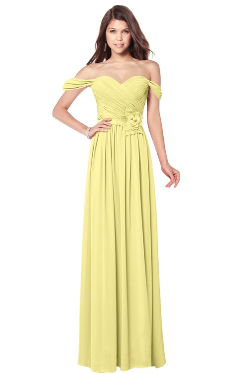 ColsBM Kaolin Pastel Yellow Bridesmaid Dresses A-line Floor Length Zip up Short Sleeve Appliques Gorgeous