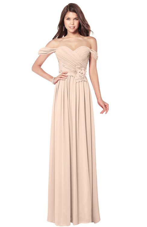 ColsBM Kaolin Peach Puree Bridesmaid Dresses A-line Floor Length Zip up Short Sleeve Appliques Gorgeous