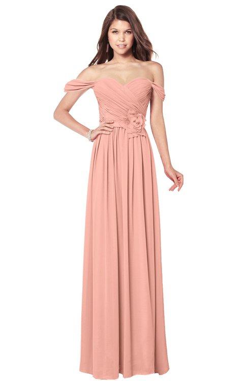 ColsBM Kaolin Peach Bridesmaid Dresses A-line Floor Length Zip up Short Sleeve Appliques Gorgeous