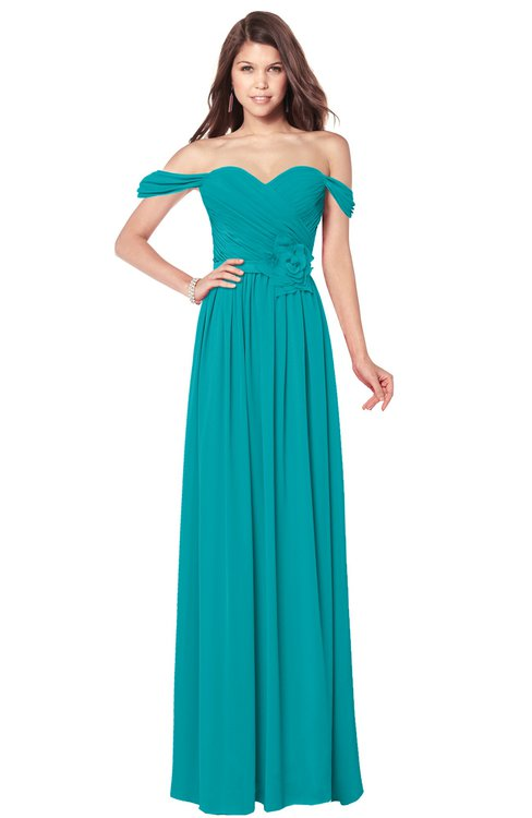 ColsBM Kaolin Peacock Blue Bridesmaid Dresses A-line Floor Length Zip up Short Sleeve Appliques Gorgeous