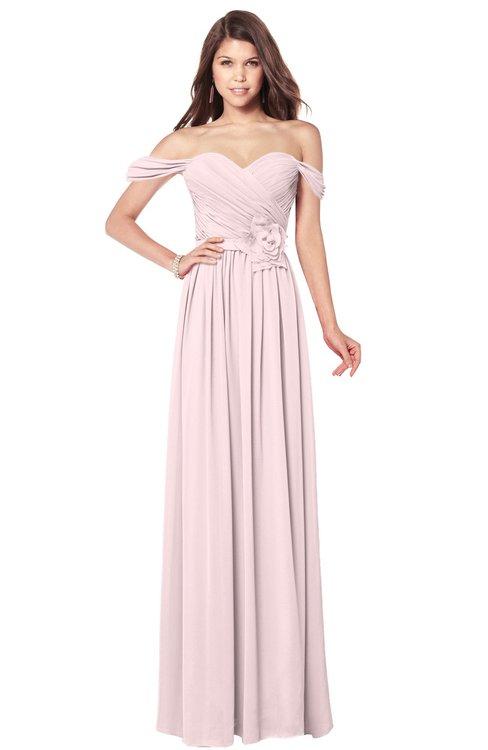 ColsBM Kaolin Petal Pink Bridesmaid Dresses A-line Floor Length Zip up Short Sleeve Appliques Gorgeous