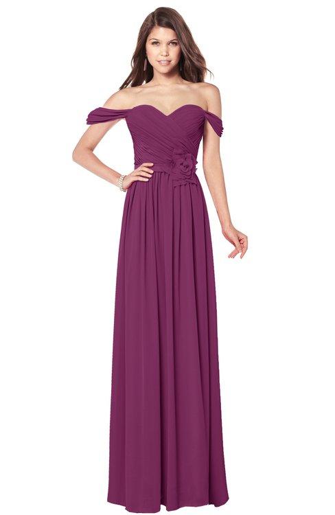 ColsBM Kaolin Raspberry Bridesmaid Dresses A-line Floor Length Zip up Short Sleeve Appliques Gorgeous