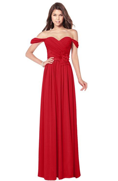 ColsBM Kaolin Red Bridesmaid Dresses A-line Floor Length Zip up Short Sleeve Appliques Gorgeous