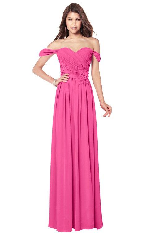 ColsBM Kaolin Rose Pink Bridesmaid Dresses A-line Floor Length Zip up Short Sleeve Appliques Gorgeous