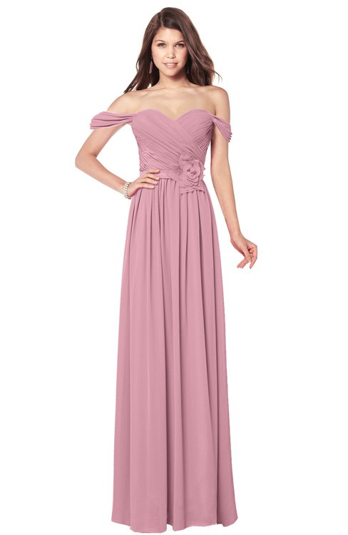 ColsBM Kaolin Rosebloom Bridesmaid Dresses A-line Floor Length Zip up Short Sleeve Appliques Gorgeous
