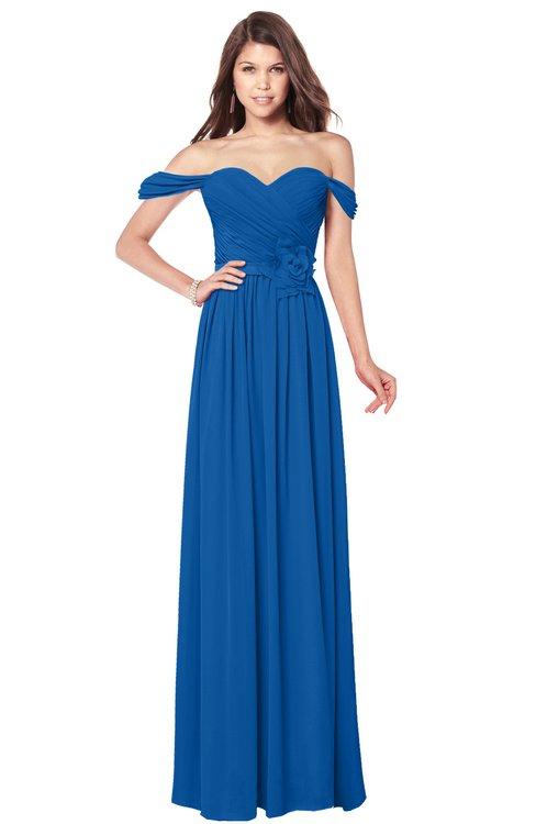 ColsBM Kaolin Royal Blue Bridesmaid Dresses A-line Floor Length Zip up Short Sleeve Appliques Gorgeous
