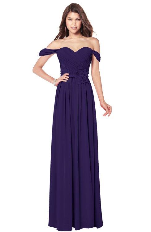 ColsBM Kaolin Royal Purple Bridesmaid Dresses A-line Floor Length Zip up Short Sleeve Appliques Gorgeous