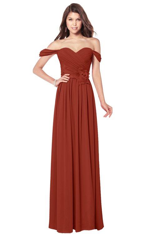 ColsBM Kaolin Rust Bridesmaid Dresses A-line Floor Length Zip up Short Sleeve Appliques Gorgeous