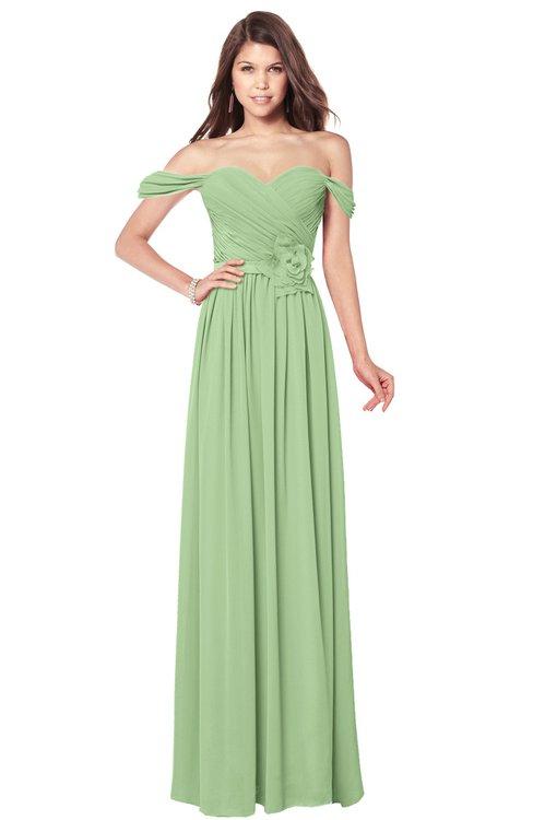 ColsBM Kaolin Sage Green Bridesmaid Dresses A-line Floor Length Zip up Short Sleeve Appliques Gorgeous