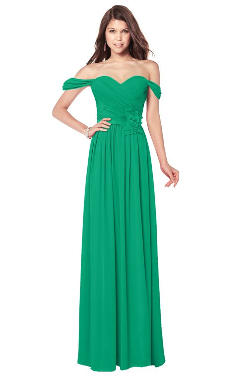 ColsBM Kaolin Sea Green Bridesmaid Dresses A-line Floor Length Zip up Short Sleeve Appliques Gorgeous