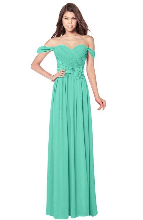 ColsBM Kaolin Seafoam Green Bridesmaid Dresses A-line Floor Length Zip up Short Sleeve Appliques Gorgeous
