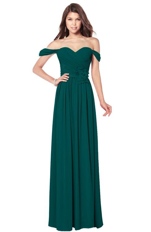 ColsBM Kaolin Shaded Spruce Bridesmaid Dresses A-line Floor Length Zip up Short Sleeve Appliques Gorgeous