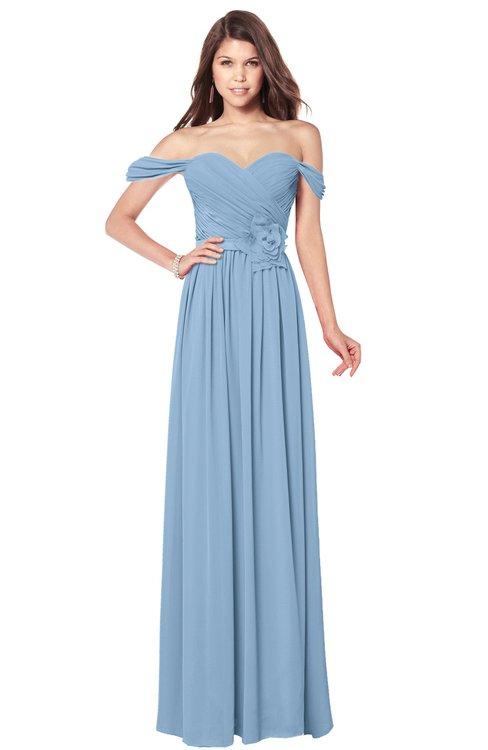 ColsBM Kaolin Sky Blue Bridesmaid Dresses A-line Floor Length Zip up Short Sleeve Appliques Gorgeous