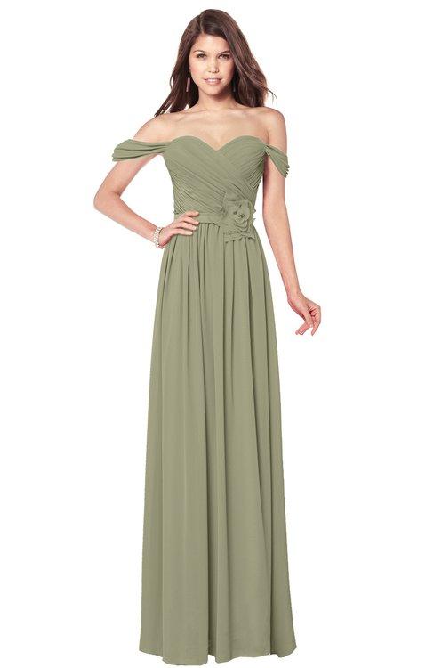 ColsBM Kaolin Sponge Bridesmaid Dresses A-line Floor Length Zip up Short Sleeve Appliques Gorgeous