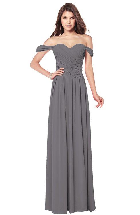 ColsBM Kaolin Storm Front Bridesmaid Dresses A-line Floor Length Zip up Short Sleeve Appliques Gorgeous