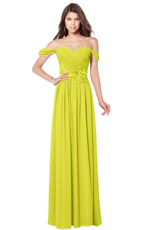 ColsBM Kaolin Sulphur Spring Bridesmaid Dresses A-line Floor Length Zip up Short Sleeve Appliques Gorgeous