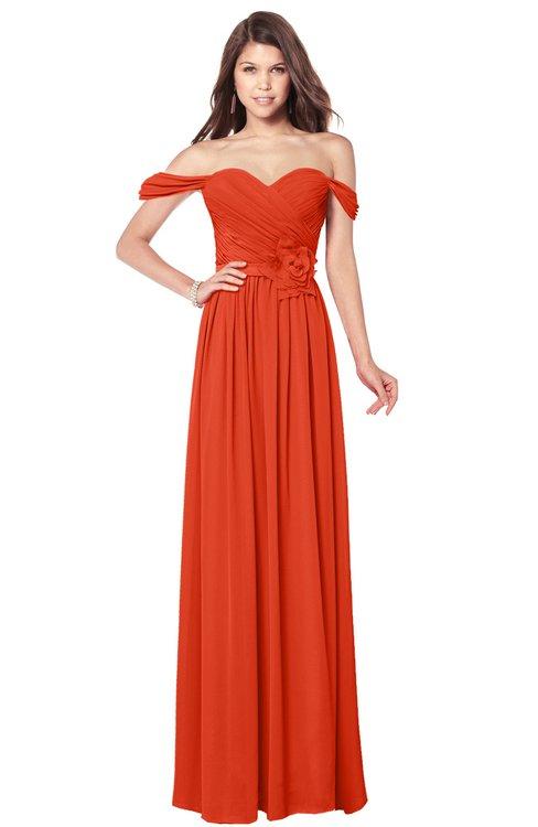 ColsBM Kaolin Tangerine Tango Bridesmaid Dresses A-line Floor Length Zip up Short Sleeve Appliques Gorgeous