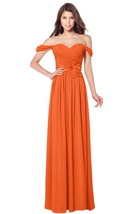 ColsBM Kaolin Tangerine Bridesmaid Dresses A-line Floor Length Zip up Short Sleeve Appliques Gorgeous