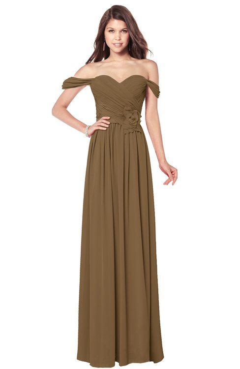 ColsBM Kaolin Truffle Bridesmaid Dresses A-line Floor Length Zip up Short Sleeve Appliques Gorgeous