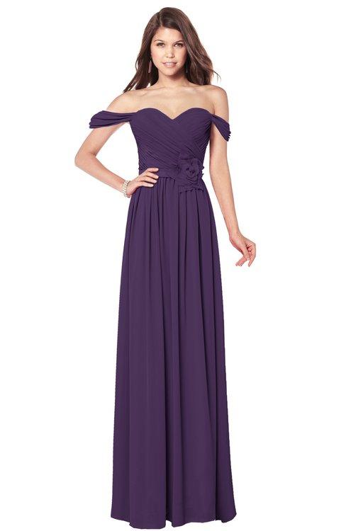 ColsBM Kaolin Violet Bridesmaid Dresses A-line Floor Length Zip up Short Sleeve Appliques Gorgeous