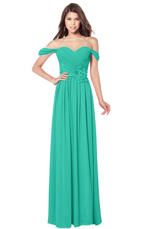 ColsBM Kaolin Viridian Green Bridesmaid Dresses A-line Floor Length Zip up Short Sleeve Appliques Gorgeous
