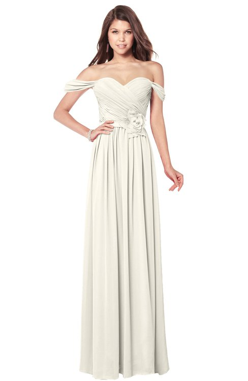 ColsBM Kaolin Whisper White Bridesmaid Dresses A-line Floor Length Zip up Short Sleeve Appliques Gorgeous