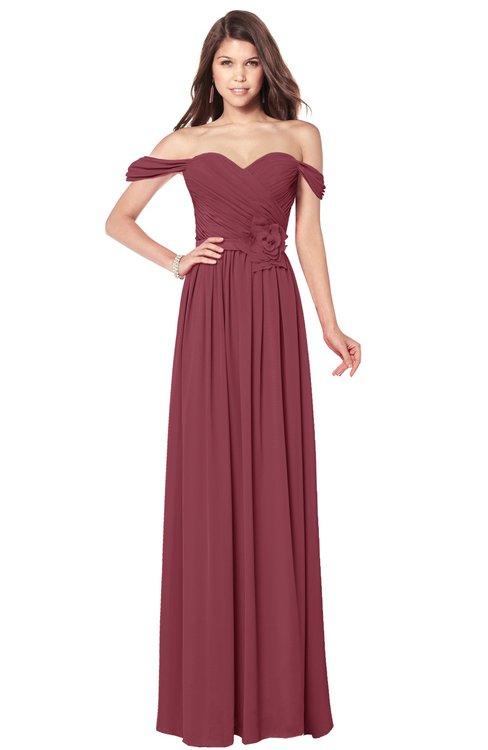 ColsBM Kaolin Wine Bridesmaid Dresses A-line Floor Length Zip up Short Sleeve Appliques Gorgeous