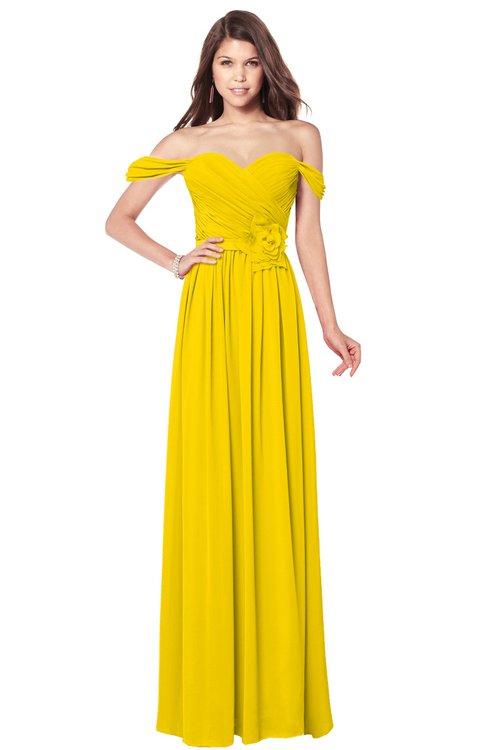 ColsBM Kaolin Yellow Bridesmaid Dresses A-line Floor Length Zip up Short Sleeve Appliques Gorgeous