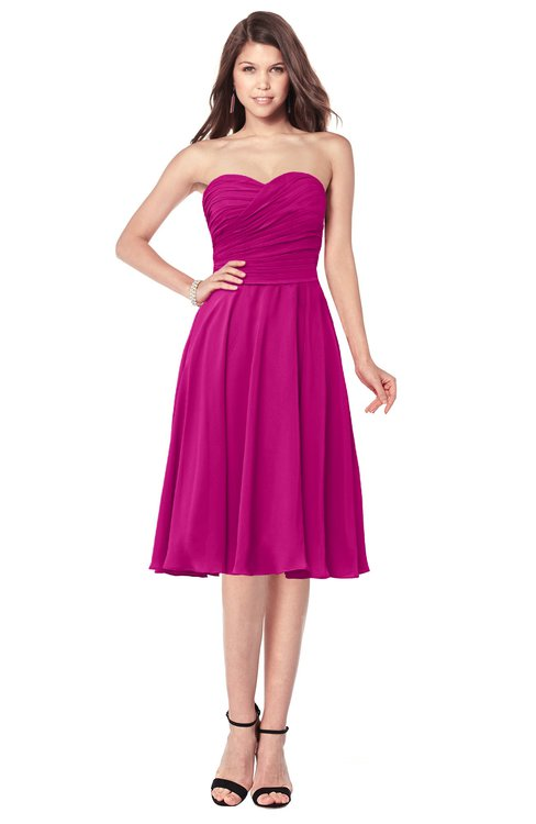 ColsBM Purdie Hot Pink Bridesmaid Dresses A-line Strapless Half Backless Tea Length Sleeveless Gorgeous