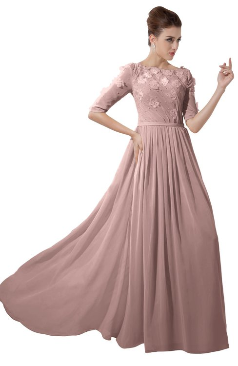 ColsBM Rene Blush Pink Bridesmaid Dresses Boat Flower A-line Elastic Elbow Length Sleeve Hawaiian