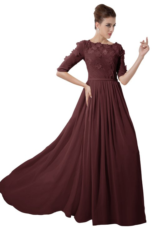 ColsBM Rene Burgundy Bridesmaid Dresses Boat Flower A-line Elastic Elbow Length Sleeve Hawaiian