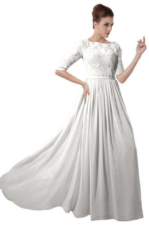 ColsBM Rene Cloud White Bridesmaid Dresses Boat Flower A-line Elastic Elbow Length Sleeve Hawaiian