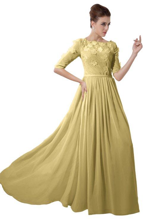 ColsBM Rene Gold Bridesmaid Dresses Boat Flower A-line Elastic Elbow Length Sleeve Hawaiian