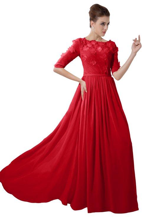 ColsBM Rene Red Bridesmaid Dresses Boat Flower A-line Elastic Elbow Length Sleeve Hawaiian