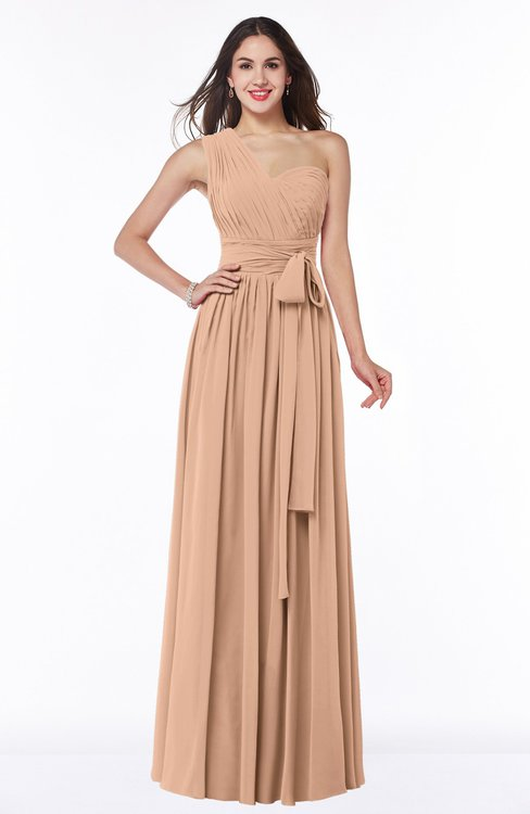 ColsBM Emmeline Almost Apricot Modern A-line Half Backless Chiffon Floor Length Ruching Plus Size Bridesmaid Dresses