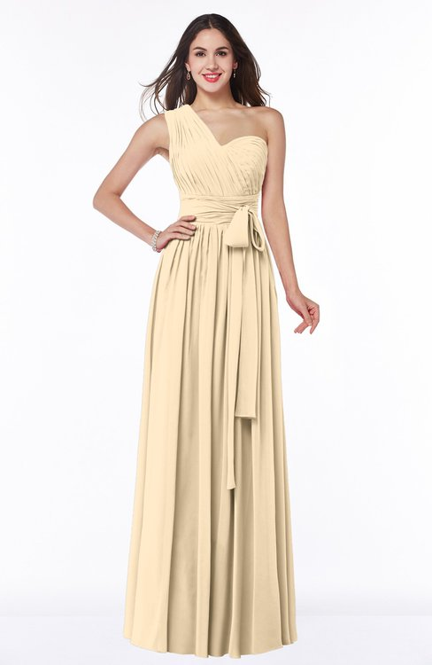 ColsBM Emmeline Apricot Gelato Modern A-line Half Backless Chiffon Floor Length Ruching Plus Size Bridesmaid Dresses