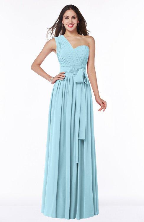 ColsBM Emmeline Aqua Modern A-line Half Backless Chiffon Floor Length Ruching Plus Size Bridesmaid Dresses