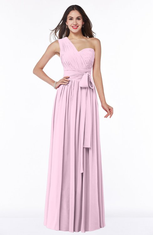ColsBM Emmeline Baby Pink Modern A-line Half Backless Chiffon Floor Length Ruching Plus Size Bridesmaid Dresses