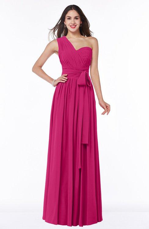 ColsBM Emmeline Beetroot Purple Modern A-line Half Backless Chiffon Floor Length Ruching Plus Size Bridesmaid Dresses