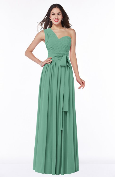 ColsBM Emmeline Beryl Green Modern A-line Half Backless Chiffon Floor Length Ruching Plus Size Bridesmaid Dresses