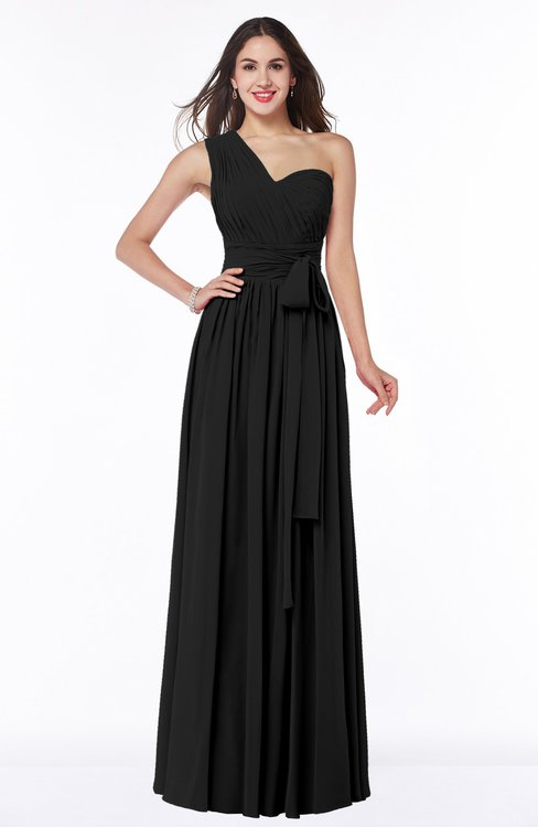 ColsBM Emmeline Black Modern A-line Half Backless Chiffon Floor Length Ruching Plus Size Bridesmaid Dresses