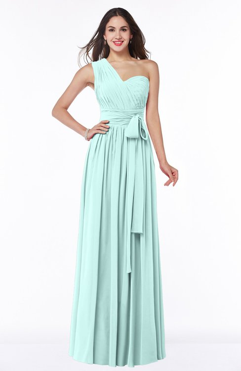 ColsBM Emmeline Blue Glass Modern A-line Half Backless Chiffon Floor Length Ruching Plus Size Bridesmaid Dresses